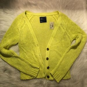 Super cute knitted lime green cardigan